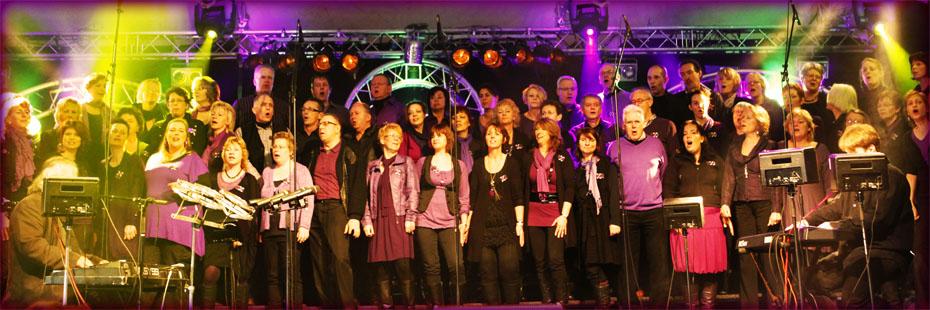 Over ons: Vox Five zingt tijdens een optreden.